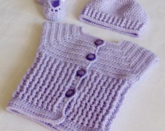 Baby Sweater Set, Baby Shower Gift Set, Handmade Baby Sweater Set, 6 / 9 Months Size