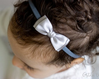 Silver Olivia Baby Bow Headband - Flower Girl Headband - Girls Headband - Silver Olivia Satin Bow Handmade Headband - Baby to Adult Headband