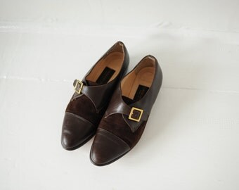 Vintage Classiques Entier Two Tone Brown Leather Oxford Shoes, Made in Italy, Womens 6 1/2 / ITEM106