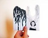 Art Zine, Deer One black and white graphic mini zine