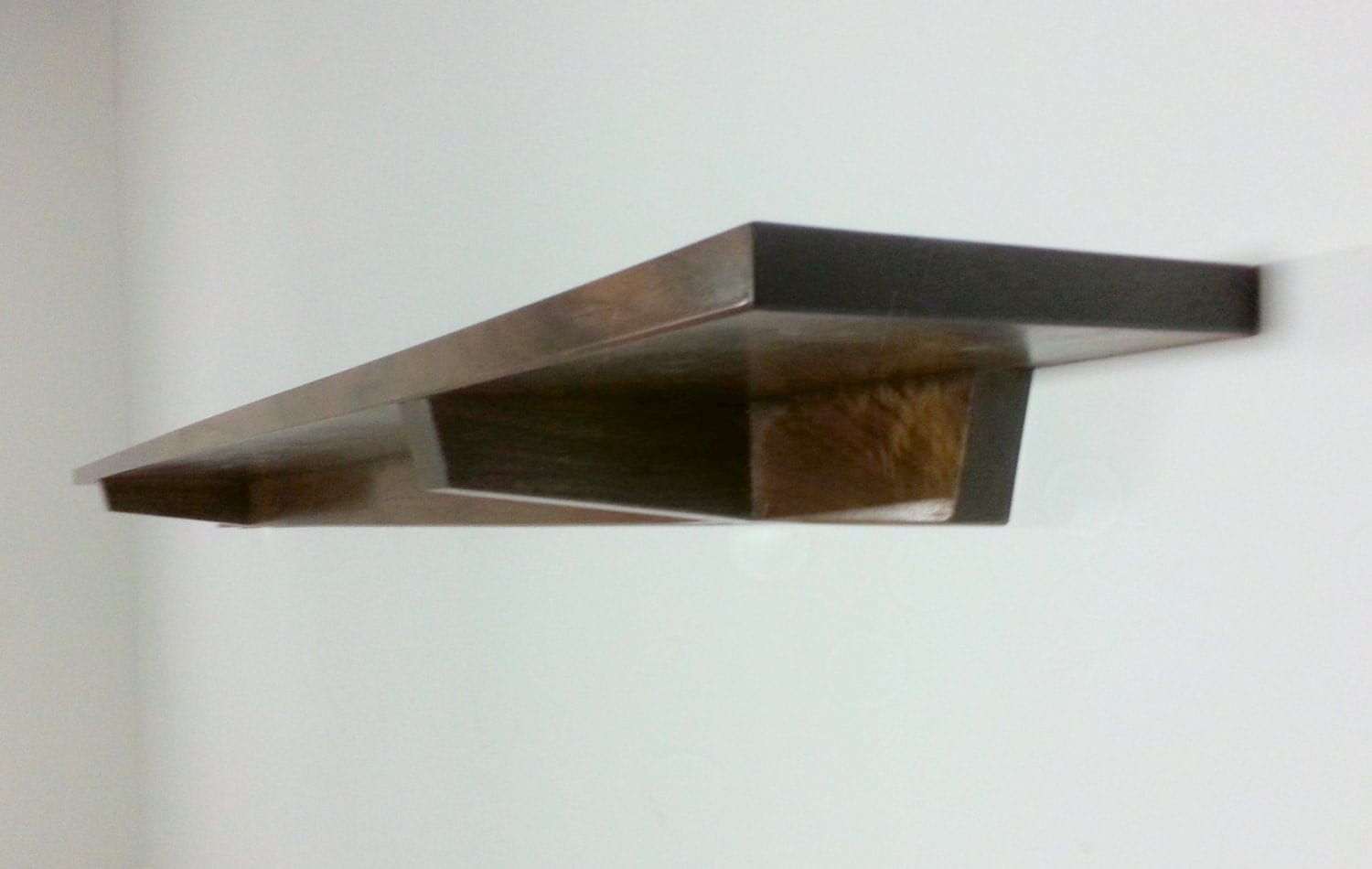 Single walnut floating wall entry table shelf mid century zoom amipublicfo Image collections