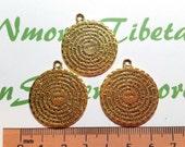 3 pcs per pack 27mm Reversible Padre Nuestro Prayer Medallion Antique Gold Lead free Pewter