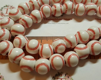 1 strand 12mm 3.5mm large hole Baseball Pink Acrylic Beads