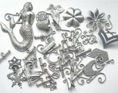 Destash Lot of Antiqued Silver Stampings and Jewelry Findings
