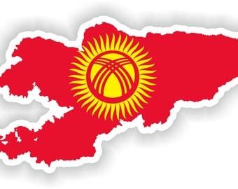 Kyrgyzstan Map Flag Silhouette Sticker for Laptop Book Fridge Guitar Motorcycle Helmet ToolBox Door PC Boat