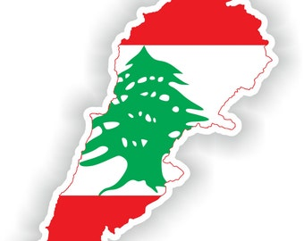 Lebanon Map Flag Silhouette Sticker for Laptop Book Fridge Guitar Motorcycle Helmet ToolBox Door PC Boat