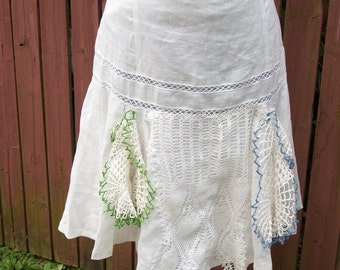 White Linen Skirt with Colorful Vintage Doilies - Coachella Junk Gypsy Shabby Chic Style - Size 12