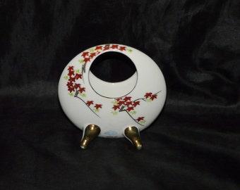 Vintage HSK Japan White Red Tree Leaf Round Oval Vase Porcelain Trinket Jewelry Keeper Holder Gold Feet