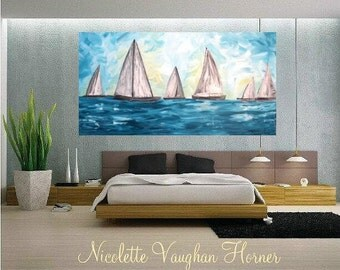Oil seascape painting Abstract Original Modern Contemporary Yacht painting by Nicolette Vaughan Horner
