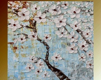 "SALE Original abstract gallery canvas palette knife floral painting  ""Wishing""  by Nicolette Vaughan Horner"