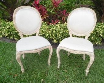 TASSEL TIME / Pair Of Rope And Tassel Side Chairs / Medallion Backs / Hollywood Regency