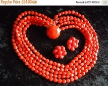 NOW ON SALE Vintage Red 5 Strand Beaded Necklace Signed Collectible Retro Rockabilly Glam Jewelry