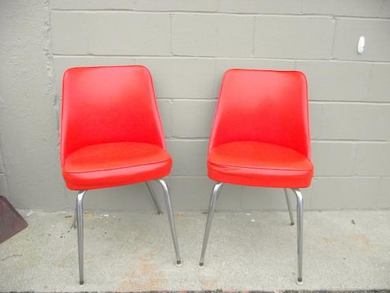 mid century modern orange chairs chrome kitchen original