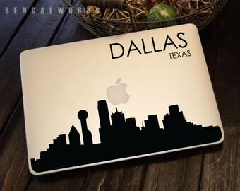 Dallas Skyline Macbook Decal 4   Macbook Sticker   Laptop Decal   Laptop Sticker   Car Sticker