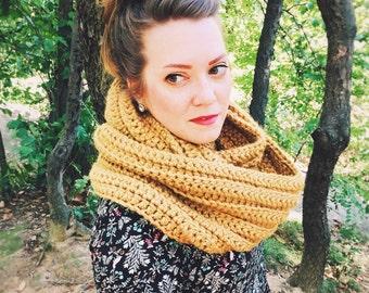 Crochet Scarf - Womens Scarf - Mens Scarf - Unisex Chunky Scarf - Infinity Scarf - Oversized Scarf - Mustard Yellow Scarf - WIEBKE SCARF