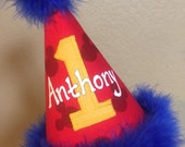 Disney Mickey Mouse first birthday hat With Name hand painted, blue trim, yellow number
