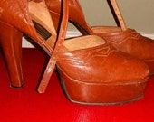 1970's Glam Platform Leather High Heels
