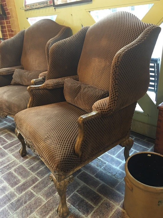 Pair of Large Interior Arm Rest Wingback Chairs w Gold Wash Ball n Claw Feet Bronze