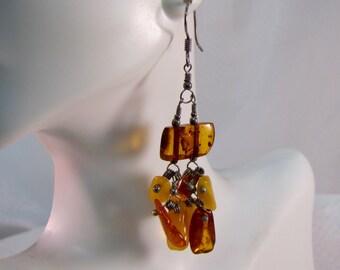 Vintage Czechoslovakian Amber Nugget Earrings
