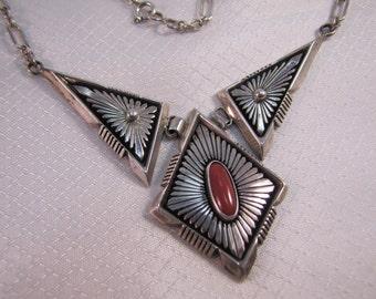 Vintage Navajo Sterling and Coral Necklace, Phillip Sanchez