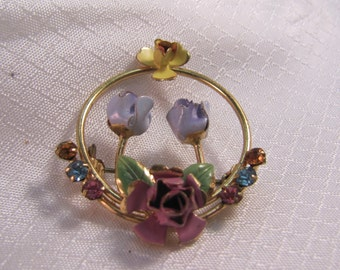 c1940's Austria Enameled Flower Brooch