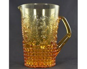Fleur De Lis Amber Glass Water Pitcher with Hobnail pattern