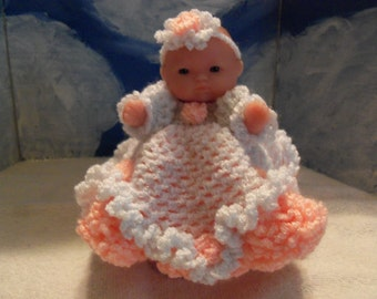 5 inch Berenguer Doll in Crocheted Flower Girl Dress