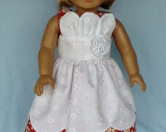 18 inch doll clothes. Daisy and eyelet petal doll dress and headband. Fits  American Girl Doll and Our Generation doll.