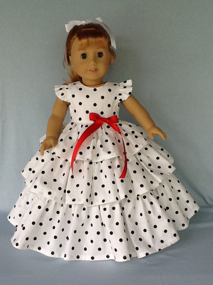 18 Inch Doll Dress Fits American Girl Dolls Retro Ruffled