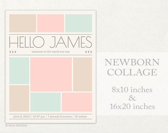 newborn collage photo collage template 8x10 16x20. Black Bedroom Furniture Sets. Home Design Ideas