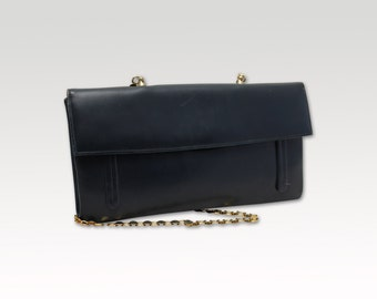 Vintage Navy Leather Clutch, Shoulder Bag, Clutch, Purse, Formal