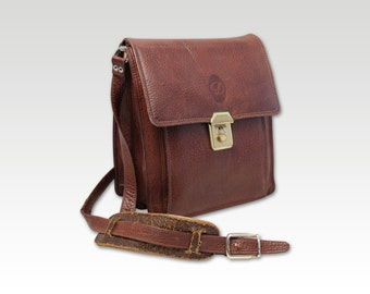 Vintage Brown Leather Cross Body Bag, Saddle Bag, Messenger