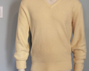 Men's Yellow V-Neck Sweater Christian Dior Medium