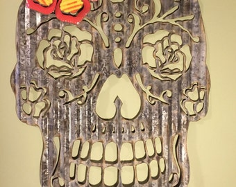 Beautiful UpCycled Metal Day of The Dead Sugar Skull Artwork Wall Hanging