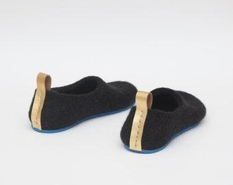 Felted black slippers for women Woolen clogs Felted clogs Valenki Golden details Home shoes