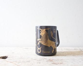 Vintage Taurus Mug Zodiac Mid Century Taurus Mug Tan Cup Vintage Modern Mug Ceramic Mug Bull Mug Gold and Black Mug