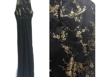 Vintage 70s Black and Gold Cheongsam Dress // Elegant Evening Dress Gown