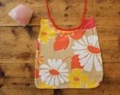 baby bib // floral baby bib, upcycled cotton baby bib, vintage tablecloth baby bib