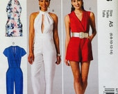 McCall's M7366 Misses' Rompers, Jumpsuits and Belt Pattern, UNCUT, Size 6-8-10-12-14, High Fashion, Wedding