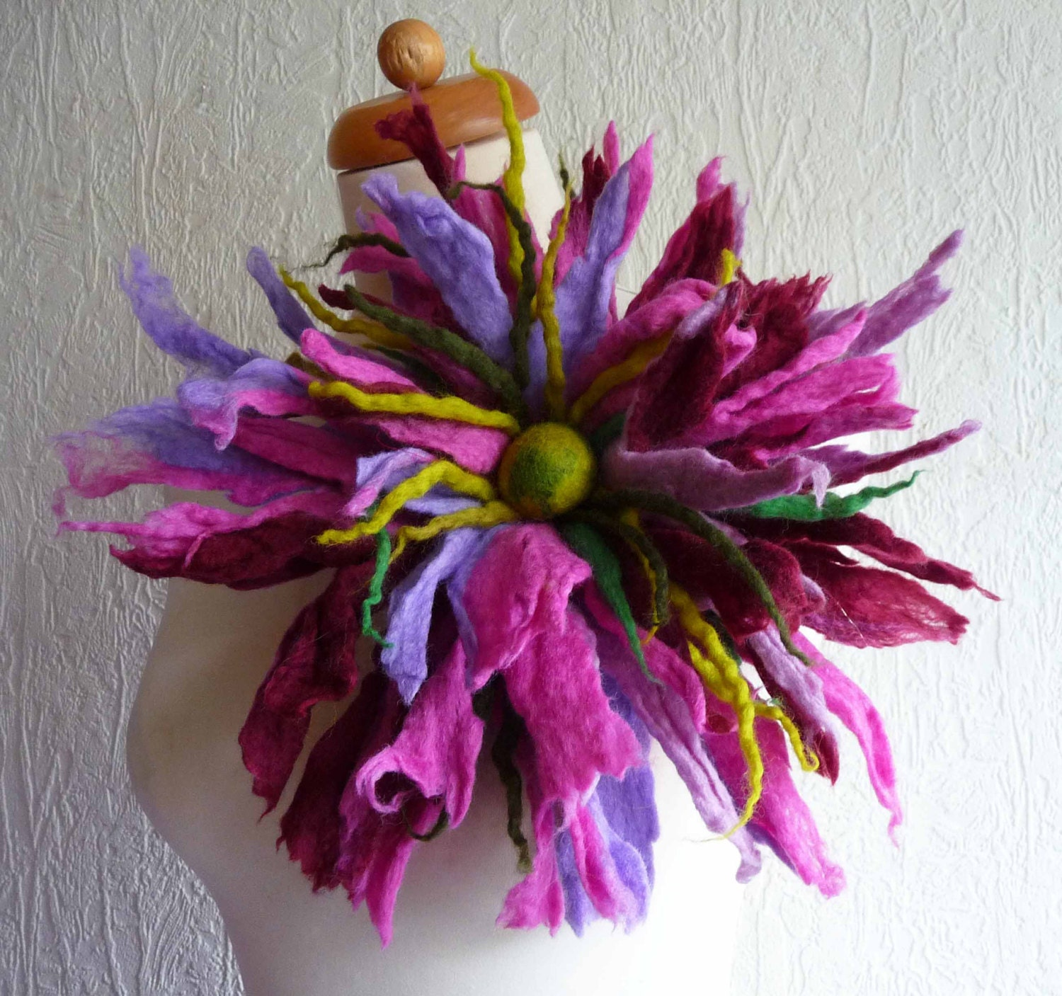 felted flower corsage pin brooch handmade felted wool