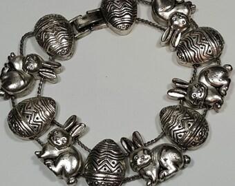 Vintage Silver-tone Easter Bunnies Bracelet
