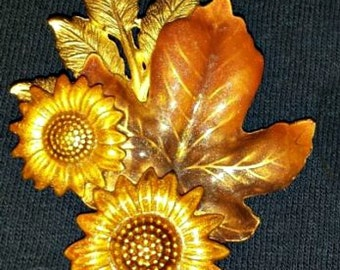 Vintage 'KC' Enamelled Sunflower Autumn/Fall Brooch