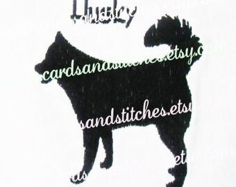 """Husky Embroidery - Husky Silhouette Embroidery Design - Machine Embroidery - Instant Download - Two Sizes 4""""x4"""" and 5""""x7"""" - Seven Formats"""
