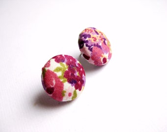 Floral fabric covered button earrings in plum, peach, pink, purple and green
