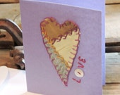 Patchwork Heart Card, Original Paper-Stitched Crazy Quilt Greeting Blank Notecard, Upcycled Valentines Day Wedding Stationery itsyourcountry