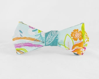 Bow Tie - Self Tie - Floral and Feathers - Reversible - Couture