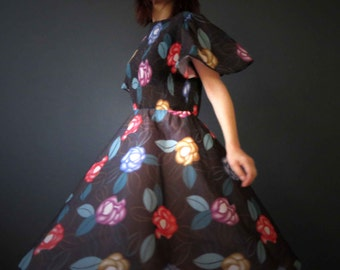 70s Black Floral Day Dress Micro Pleated Bodice Dress