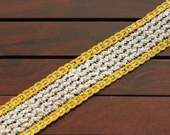 1 Yard Braided Fabric Trim-Yellow and White Fabric Ribbon Trim- Zari Fabric Ribbon-Crazy Quilt Ribbons-Designer Silk Sari Border