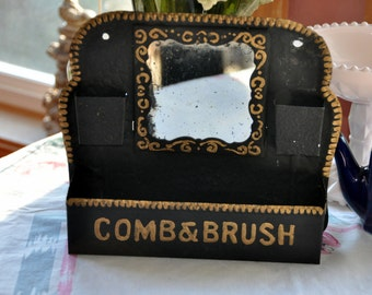 Comb & Brush Mirrored Drugstore Display with matchstick holder - wall mount
