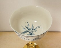 Blue White Pedestal Dish Solid Brass Toile